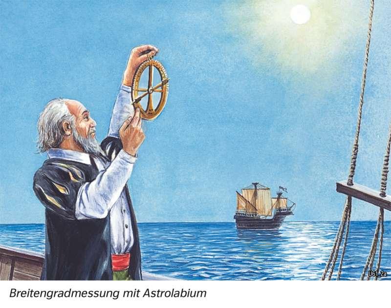 | Breitengradmessung mit Astrolabium | Geschichte - Geographische Entdeckungen | Karte 202/5