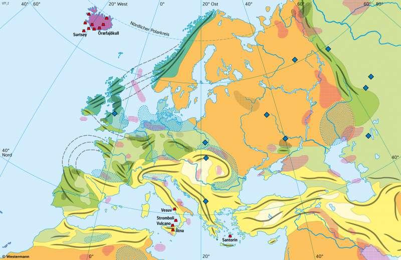 Europa | Alter der Gebirge und Rohstoffvorkommen | Europa - Formende Kräfte | Karte 72/1