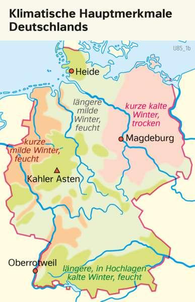 | Klimatische Hauptmerkmale Deutschlands | Deutschland - Klima | Karte 38/1
