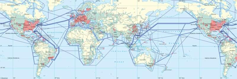 Erde | Globaler Datenverkehr über Internet und Handys | Erde - Globale Kommunikation | Karte 188/1