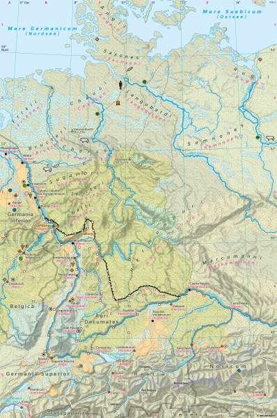Germanien und Raetien | Landschaft zur Römerzeit 100n.Chr. | Geschichte - Römisches Reich und Germanien | Karte 197/3