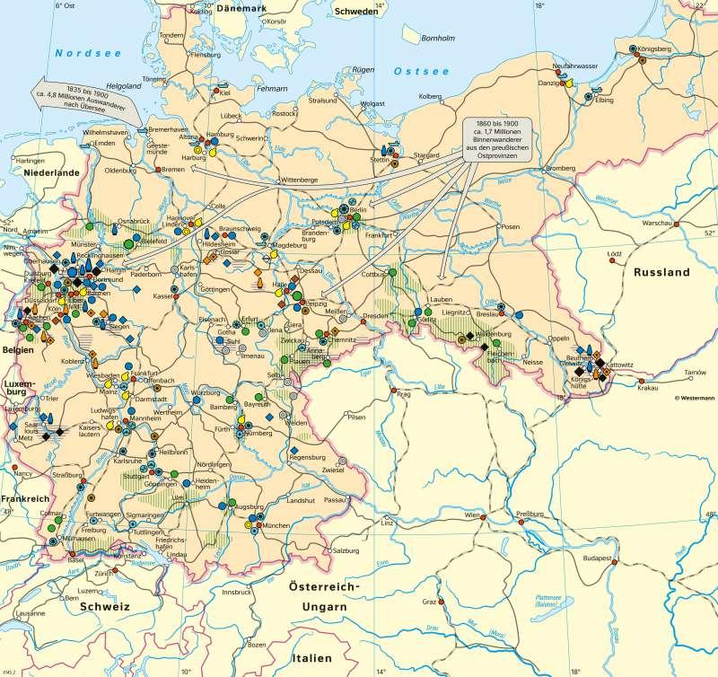 Deutschland   Industrie und Verkehr im 19.Jahrhundert   Geschichte - Deutschland im 19.Jahrhundert   Karte 209/3