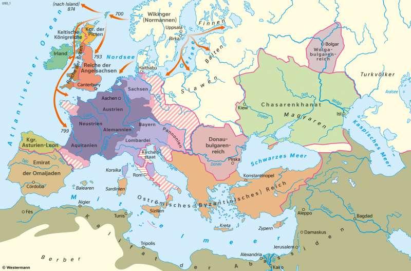 Europa | Reiche am Ende der Herrschaft Karls des Großen um 814 n.Chr. | Geschichte - Früh- und Hochmittelalter | Karte 198/2