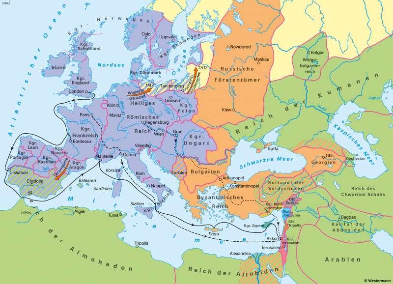 Europa und Orient | Zeit der ersten Kreuzzüge Ende des 12.Jahrhundert | Geschichte - Vom Spätmittelalter zur Frühen Neuzeit | Karte 200/1