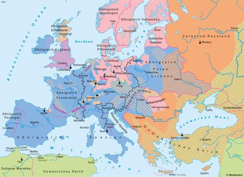 | Reformation in Europa um 1570 | Geschichte - Reformation und Dreißigjähriger Krieg | Karte 204/1