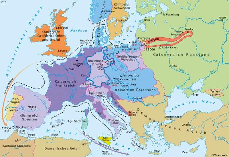 Europa | Das Zeitalter Napoleons um 1812 | Geschichte - Vom Barock zum Napoleonischen Zeitalter | Karte 207/4