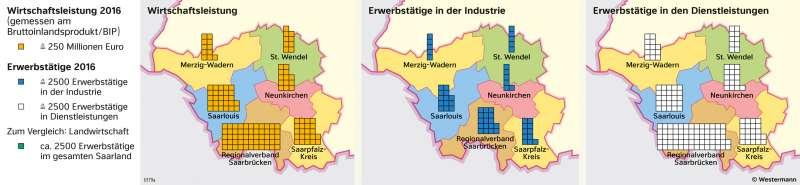 Saarland | Wirtschaftsstatistik | Saarland - Wirtschaft und Verkehr | Karte 20/1