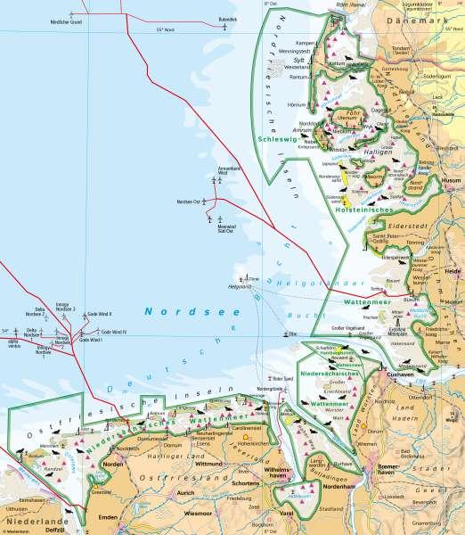 Nordseeküste | Tourismus und Naturschutz | Deutschland - Tourismus und Naturschutz | Karte 53/3
