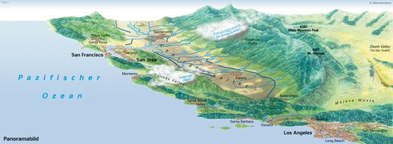 Zentralkalifornien | Topographie und Niederschlagsverhältnisse | Nord- und Mittelamerika - Wirtschaft | Karte 153/2