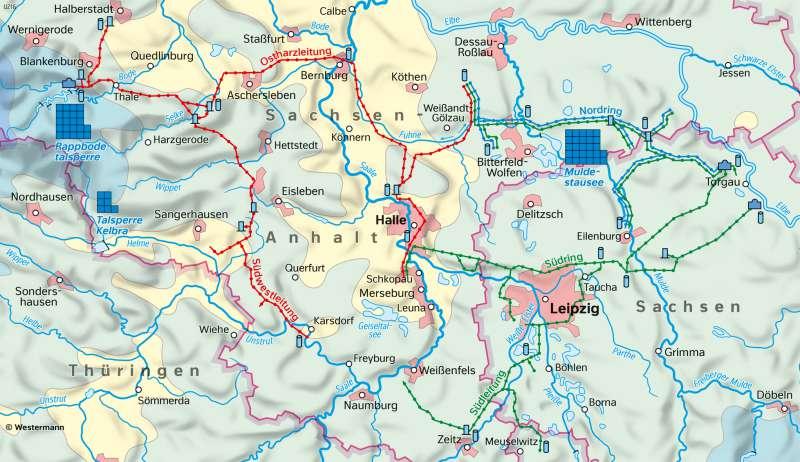Ostharz/Mittelelbe | Wasserversorgung in Mitteldeutschland | Sachsen-Anhalt - Natur und Umwelt | Karte 16/2