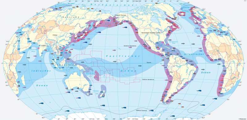 Weltmeere | Fischfang und Fischzucht | Erde - Weltmeere | Karte 167/1