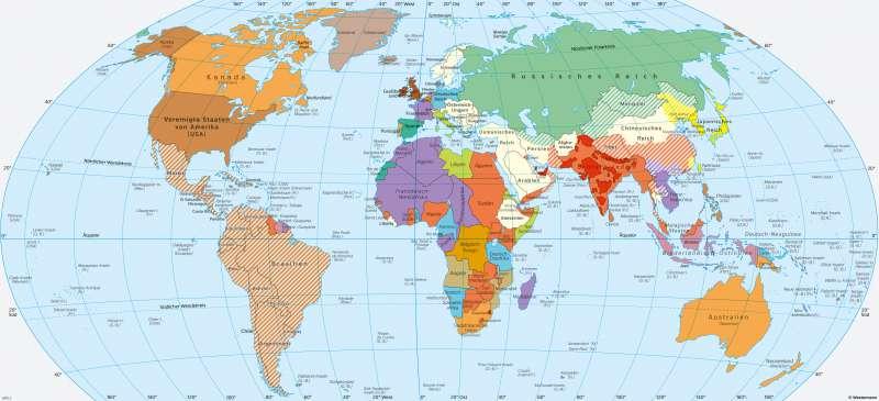 | Die Welt um 1914 | Geschichte - Imperialismus und Erster Weltkrieg | Karte 212/1