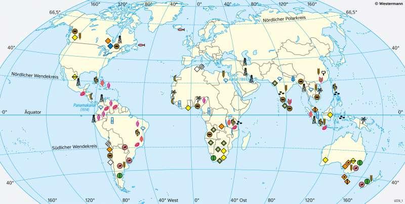 Erde | Handelsgüter der Kolonien und imperialistische Interessengebiete (um 1914) | Geschichte - Imperialismus und Erster Weltkrieg | Karte 212/2