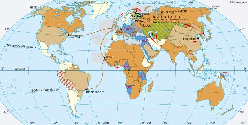 | Die Welt im Ersten Weltkrieg (28.7.1914–11.11.1918) | Geschichte - Imperialismus und Erster Weltkrieg | Karte 213/3