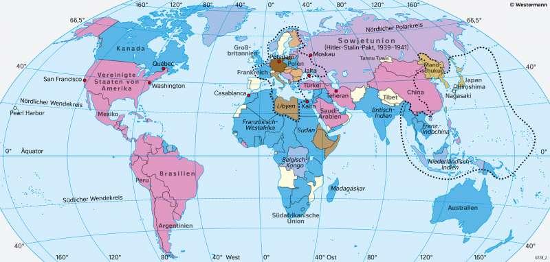 Erde | Bündnisse im Zweiten Weltkrieg (1.9.1939–8.5.1945) | Geschichte - Der Zweite Weltkrieg und seine Ergebnisse | Karte 217/4