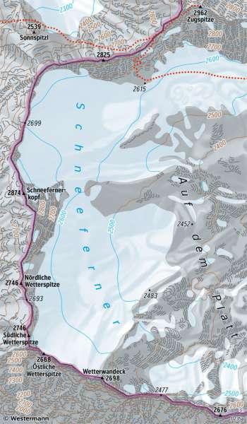 Schneeferner (Wetterstein) | Gletscher | Alpen - Tourismus und Umwelt | Karte 55/5