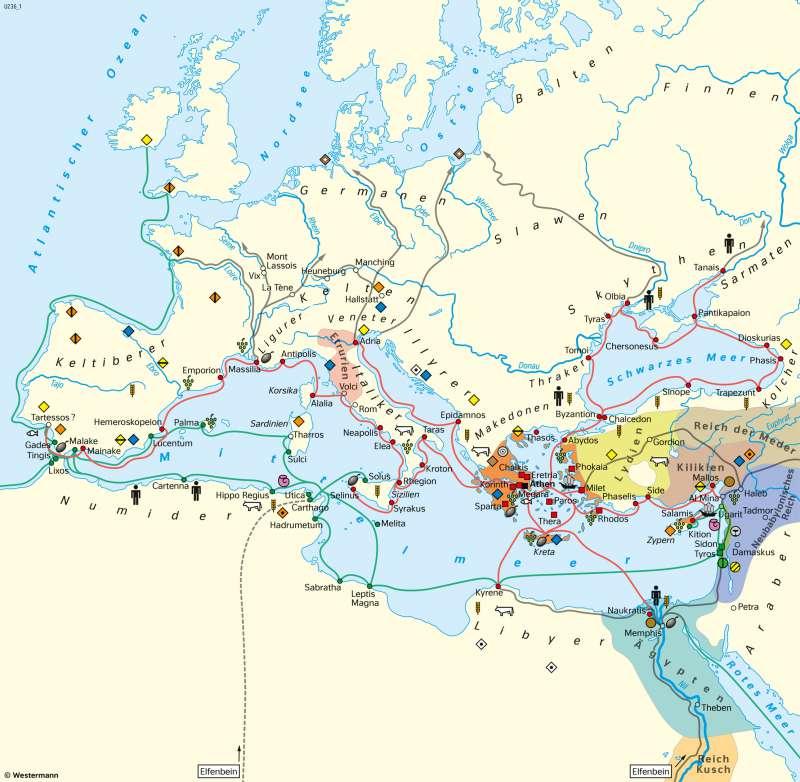 Mittelmeerraum   Phönikische und griechische Kolonisation   Geschichte - Altes Ägypten und Antikes Griechenland   Karte 195/2