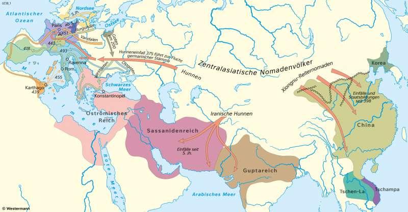 Eurasien | Völkerwanderung und Reiche (bis zum Tode Theoderichs um 526n.Chr.) | Geschichte - Früh- und Hochmittelalter | Karte 198/1