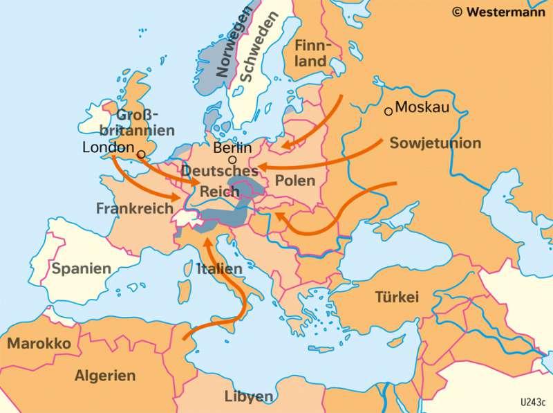 Europa | Der Verlauf des Zweiten Weltkrieges | Geschichte - Der Zweite Weltkrieg und seine Ergebnisse | Karte 216/1