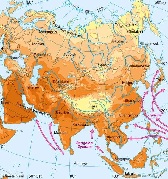 Asien | Temperaturen | Asien - Klima und Monsun | Karte 101/2