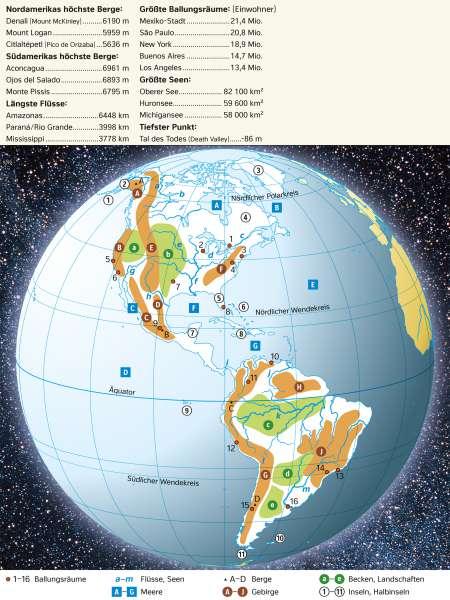 Amerika | Topographie und Rekorde | Amerika - Orientierung | Karte 141/2