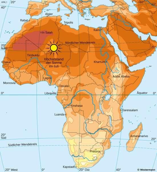 Afrika | TemperaturenimJuli | Afrika - Klima | Karte 126/2