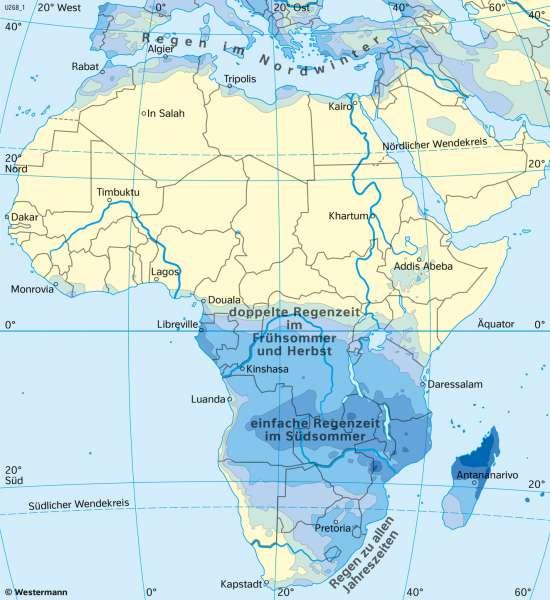 Afrika | NiederschlägeimJanuar | Afrika - Klima | Karte 127/5