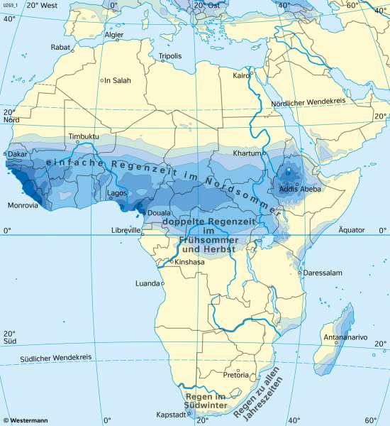 Afrika | NiederschlägeimJuli | Afrika - Klima | Karte 127/6