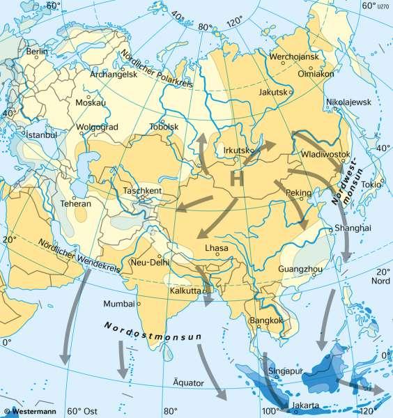 Asien | Niederschläge | Asien - Klima und Monsun | Karte 101/3