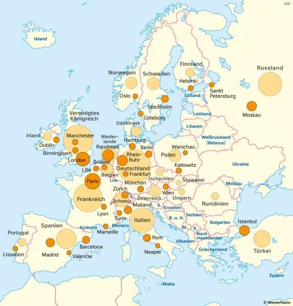 Europa | Wirtschaftsleistung verschiedener Räume | Europa - Wirtschaft | Karte 79/3