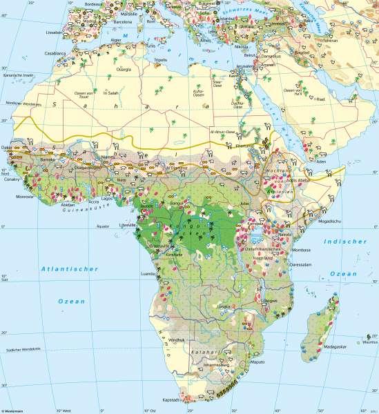 Afrika | Landwirtschaft | Afrika - Landwirtschaft und Dürre | Karte 124/1