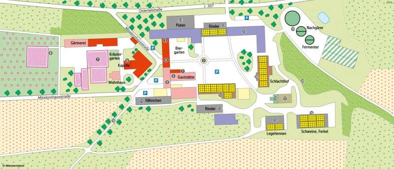 Wendelinushof (SanktWendel) | Nachhaltiger Landwirtschaftsbetrieb durch kleine Kreisläufe und kurze Wege | Saarland - Landwirtschaft | Karte 15/2
