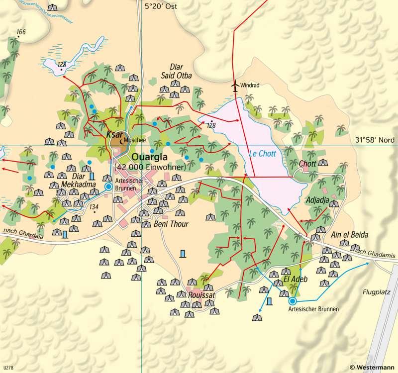 Ouargla (Algerien) | Wandel einer Brunnenoase | Afrika - Landwirtschaft und Dürre | Karte 125/3