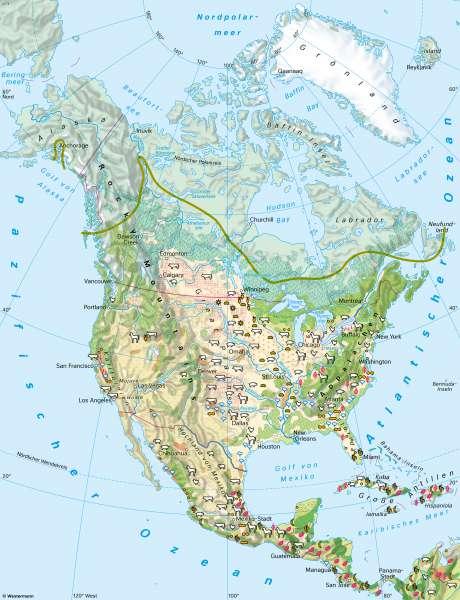 Nord- und Mittelamerika | Landwirtschaft | Nord- und Mittelamerika - Landwirtschaft und Klima | Karte 150/1