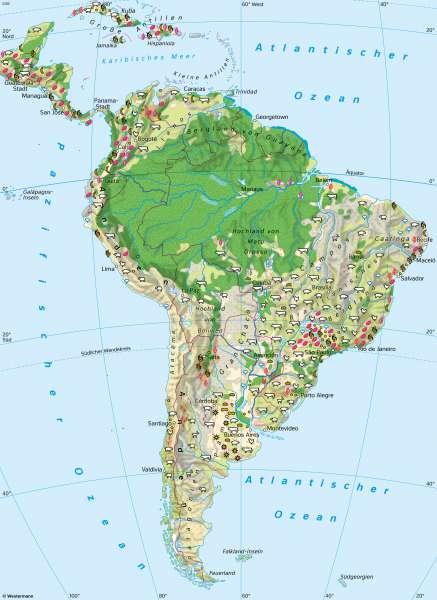 Südamerika | Vegetation und Landwirtschaft | Südamerika - Landwirtschaft | Karte 160/2