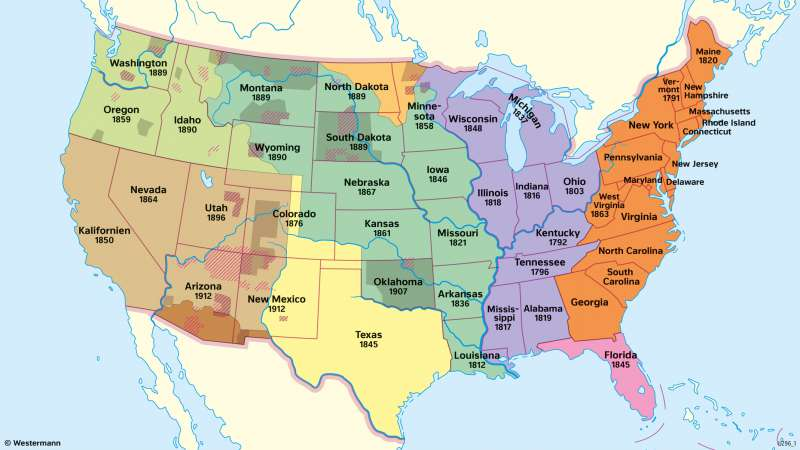VereinigteStaaten vonAmerika (USA) | Politische Entwicklung | Geschichte - Die Entwicklung der USA zum Einwanderungsland | Karte 211/4