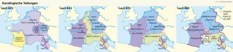 Westeuropa | Karolingische Teilungen | Geschichte - Früh- und Hochmittelalter | Karte 198/2