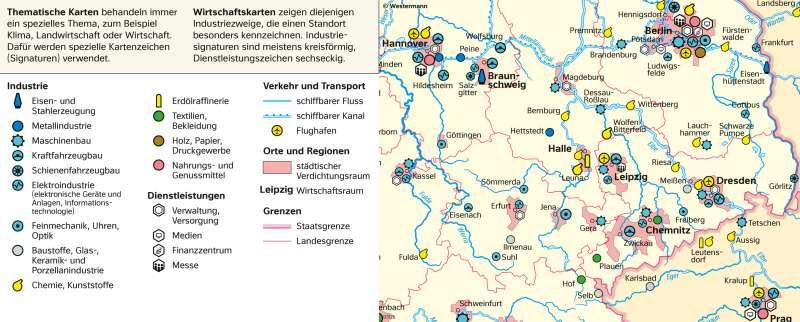 | Thematische Karte (zur mitteldeutschen Wirtschaft) | Sachsen - Kartentypen/Berge auf der Karte | Karte 6/2