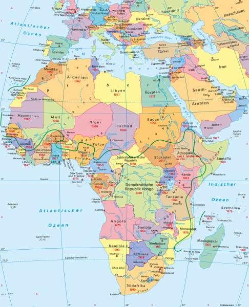 Afrika | Politische Übersicht | Afrika - Staaten und Bevölkerung | Karte 122/1