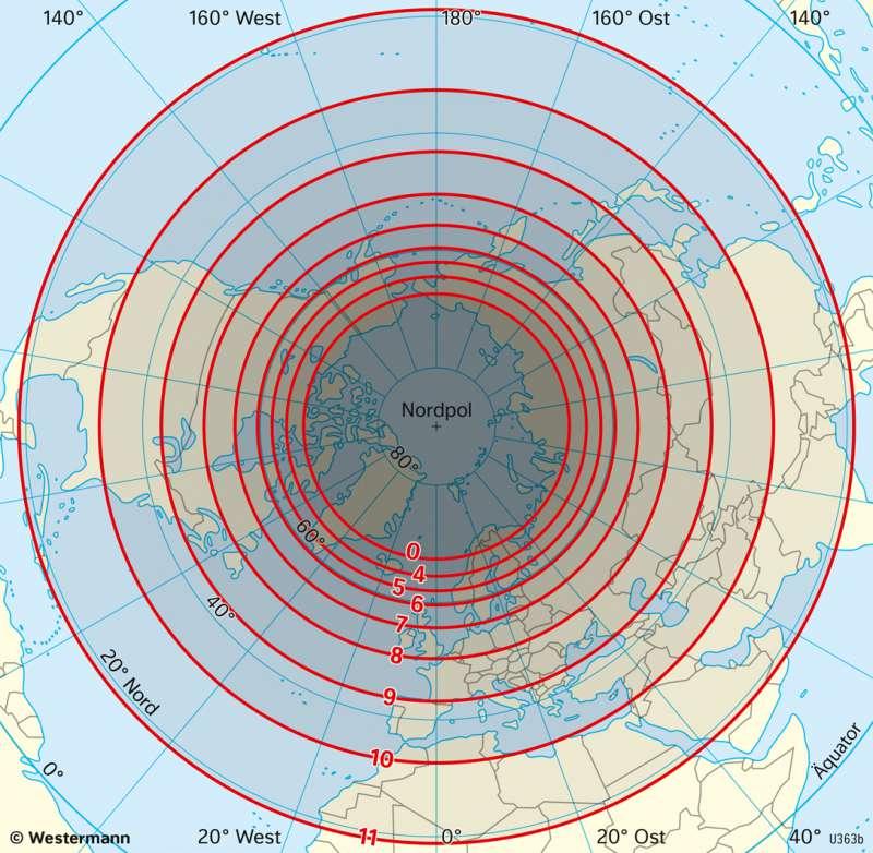 Nordhalbkugel | Tageslängen | Erde - Klimazonen und ihre Gliederung | Karte 175/4