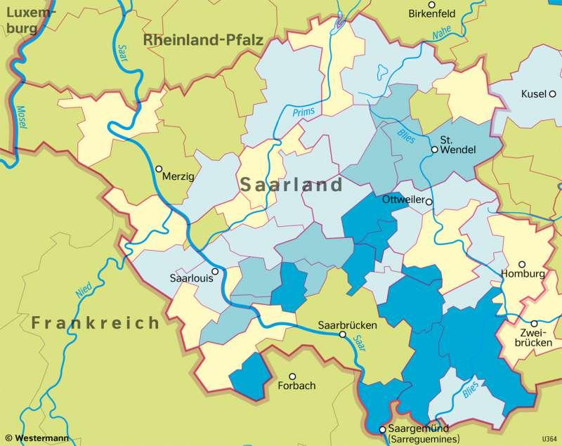 Saarland | ÄltereBevölkerung | Saarland - Verwaltung und Bevölkerung | Karte 29/5