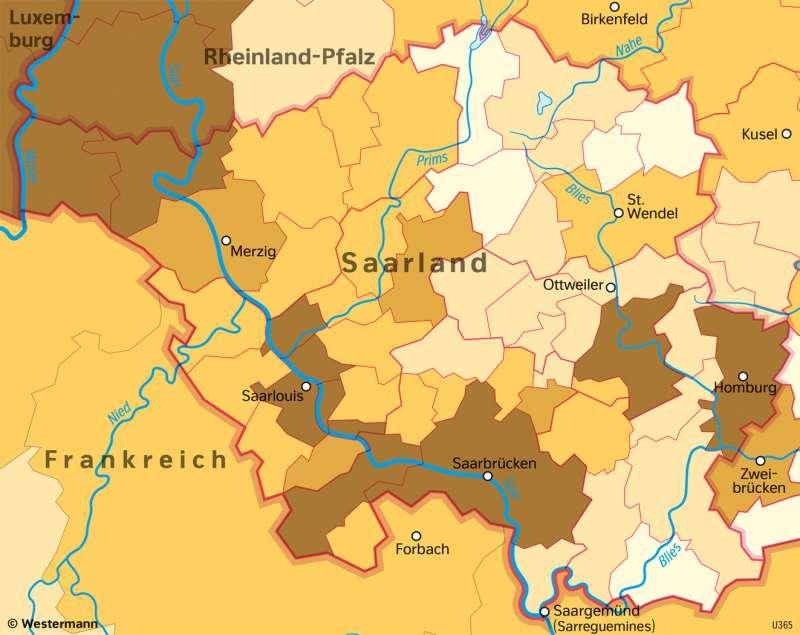 Saarland | AusländischeBevölkerung | Saarland - Verwaltung und Bevölkerung | Karte 29/6