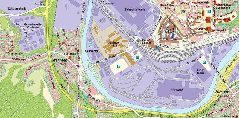 Völklingen | Flächennutzung im Saarbogen | Völklingen - Karte, Luftbild und Maßstab | Karte 10/2
