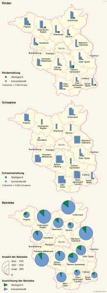 Brandenburg und Berlin | Konventionelle und ökologische Landwirtschaft | Brandenburg und Berlin - Landwirtschaft und Klima | Karte 19/2