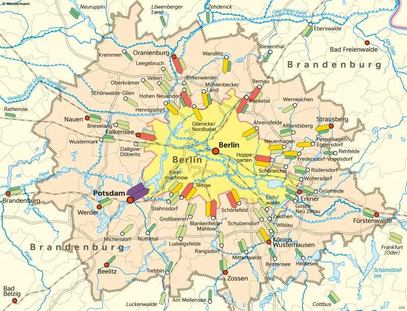 Berlin und seinUmland   Tagespendler   Berlin und sein Umland - Bevölkerung   Karte 28/2
