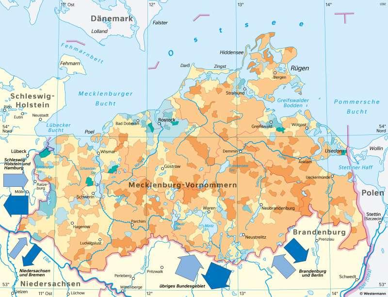 Mecklenburg-Vorpommern   Bevölkerungszunahme und -abnahme zwischen 2002 und 2017   Mecklenburg-Vorpommern - Bevölkerung   Karte 24/2