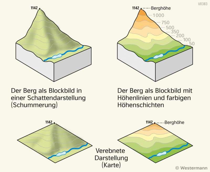 | Berge auf der Karte | Sachsen-Anhalt - PhysischeKarte | Karte 15/2