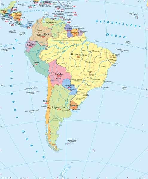 Südamerika | Politische Übersicht | Südamerika - Staaten und Bevölkerung | Karte 158/1