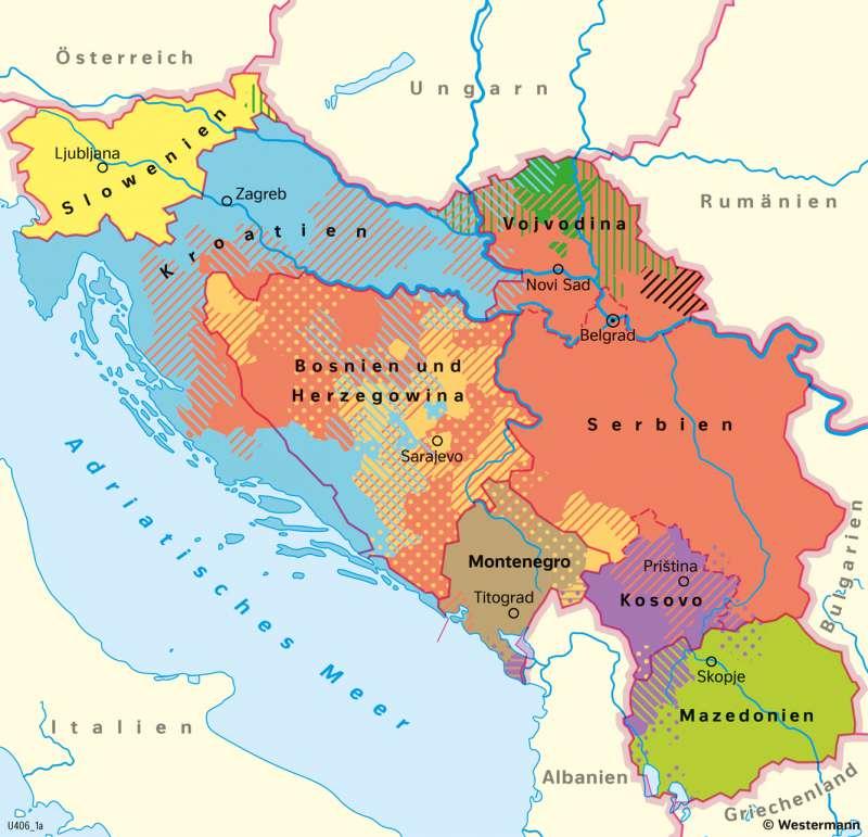 VielvölkerstaatJugoslawien | Auflösung durch Kriege | Geschichte - Europa nach dem Kalten Krieg | Karte 221/5