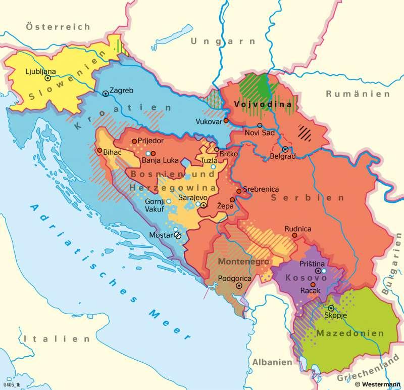 Jugoslawien Karte.Diercke Weltatlas Kartenansicht Vielvölkerstaat Jugoslawien